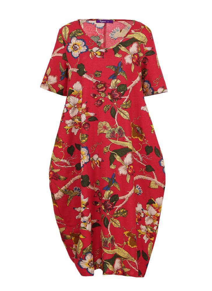 Abito vintage in cotone con stampa floreale casual colorato con tasche ampio vestito