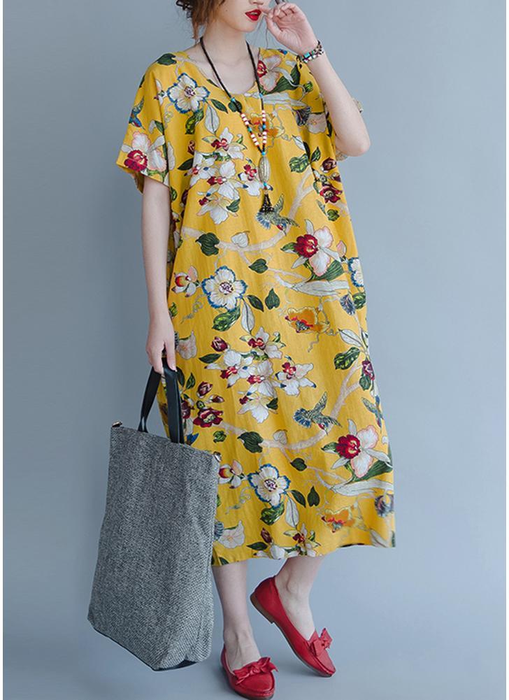 Algodão Vintage Floral Imprimir Vestido Casual Colorido com Bolsos Vestido Solto