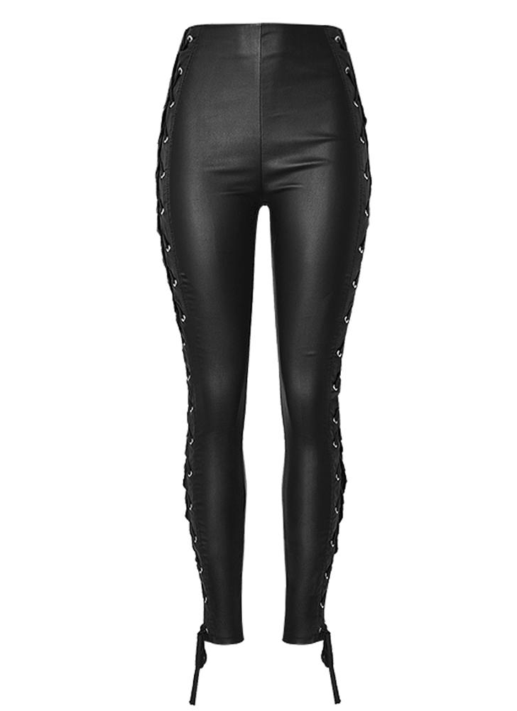 Женские кожаные штаны Lace Up Bandage Pencil Pants Elastic Slim Trousers