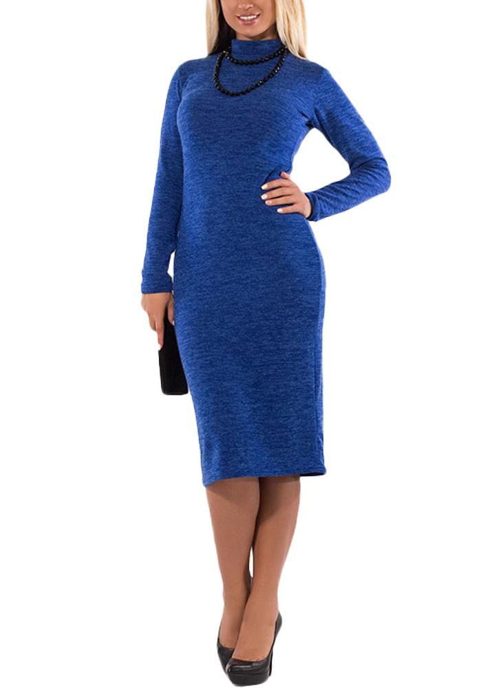 Frauen Rollkragen Bodycon Kleid mit langen Ärmeln Mantel Stretchy Plus Size Pencil Dress