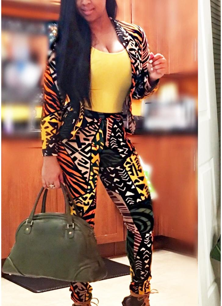 Floral Print Long Sleeve Casual Suit