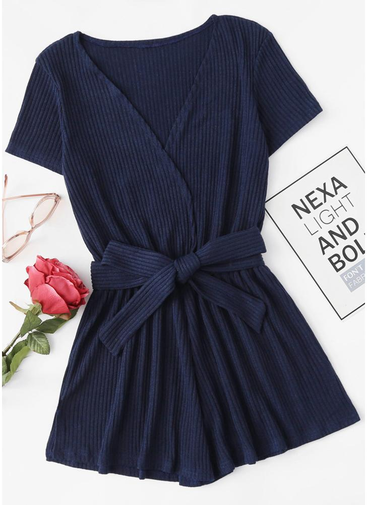 Women Knit Jumpsuit Wrap Rompers Belted V-Neck Beach Playsuit