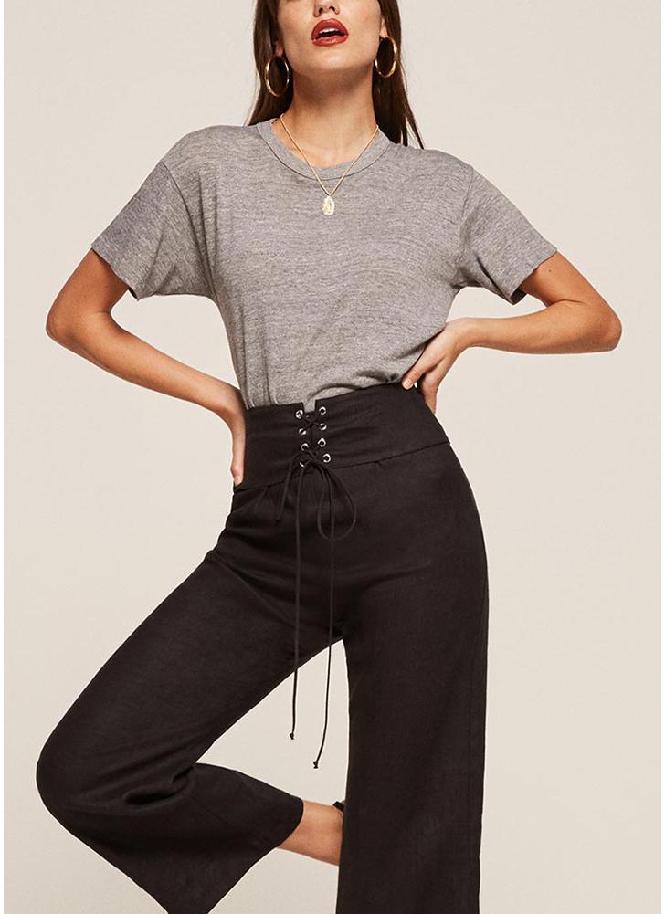 Pantalones de pierna recta de mujer con cordones pantalones de cintura alta