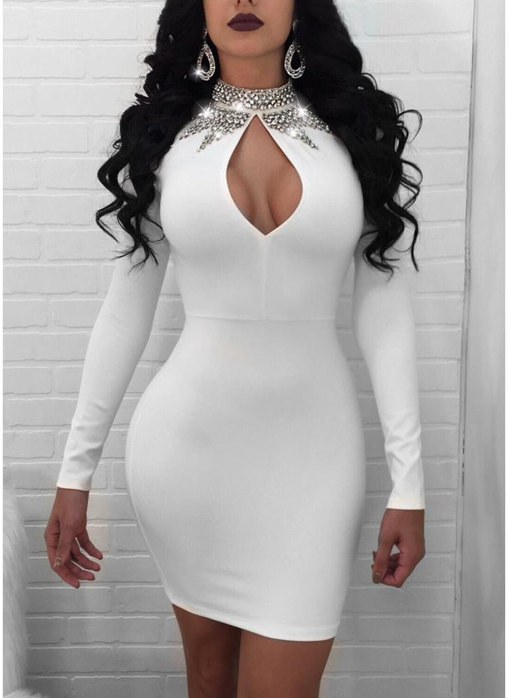 Женское блендер Diamond Cutout Bodycon Платье Bling Rhinestone Party Club Mini Dress