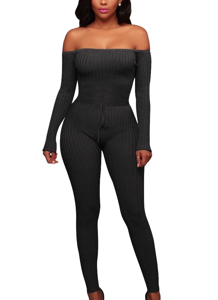 Femmes hors de l'épaule en tricot jumpsuit à manches longues cordon de serrage à la taille des barboteuses