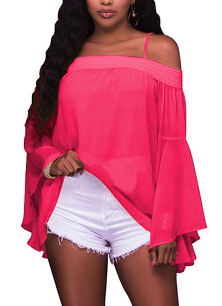 Off the Shoulder Chiffon Bardot Neck Flare Sleeve Loose Blouse