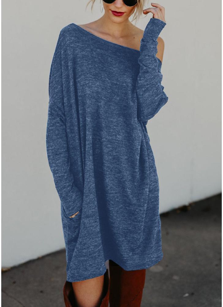 Women Loose Knit Sweater Dress Long Sleeves Pockets  Party Mini Straight Dress