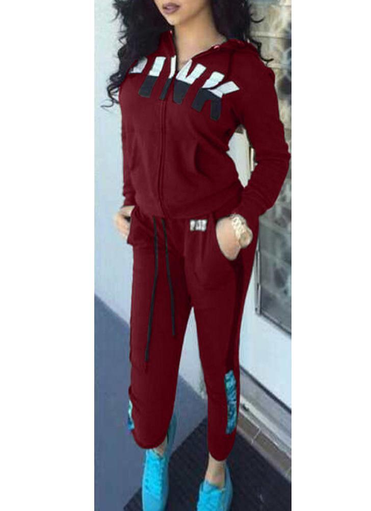 Женщины Спортивные костюмы Письмо Печать Толстовки с капюшоном с длинным рукавом Штаны с длинным рукавом