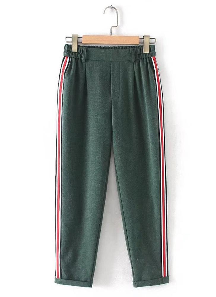 Pantalones de mujer en cintura elástica con cintura elástica enrollados
