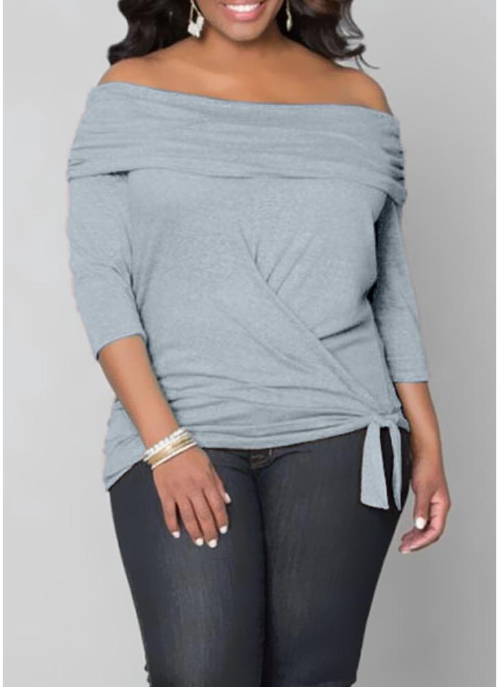 Tamanhos de tamanho superior Off The Shoulder 3/4 Sleeve Wrap Style