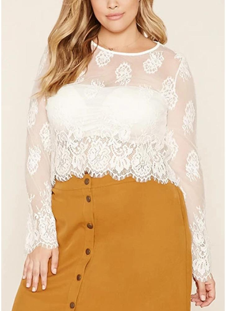 Women Plus Size Blusa Sheer Floral Lace Scalloped Trims