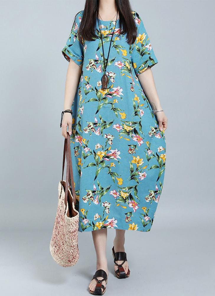 Vintage Floral Imprimer O-Neck Dress manches courtes poches Casual longue robe