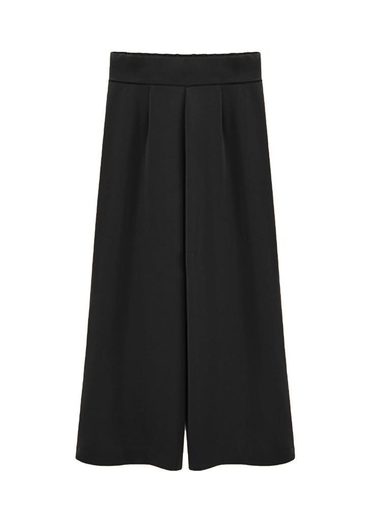 Plus Size Solid Elastic High Waist Wide Legs Pants