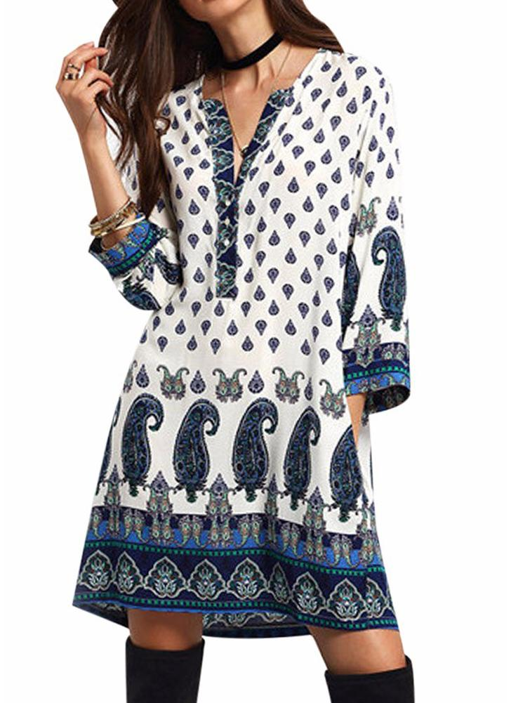 Women Retro Paisley Loose Dress Casual Pockets Short Mini Dress