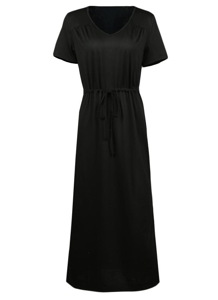 Short Sleeves V-Neck Elastic Waist Solid Elegant Maxi Dress