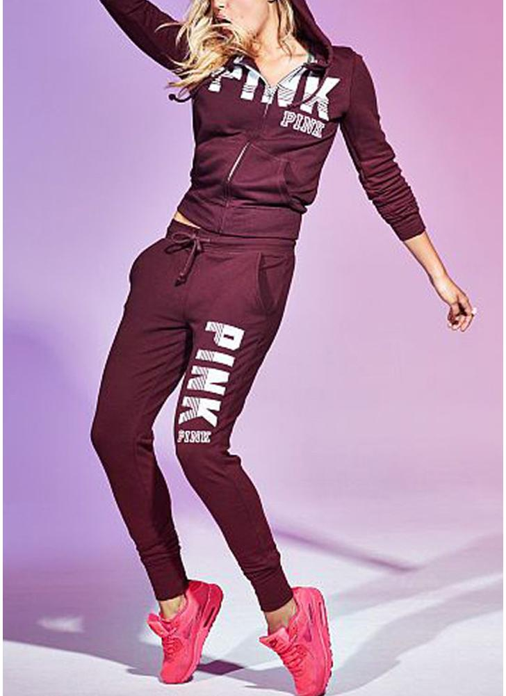 Letter Print Hoodie Trousers Casual Tracksuit Set