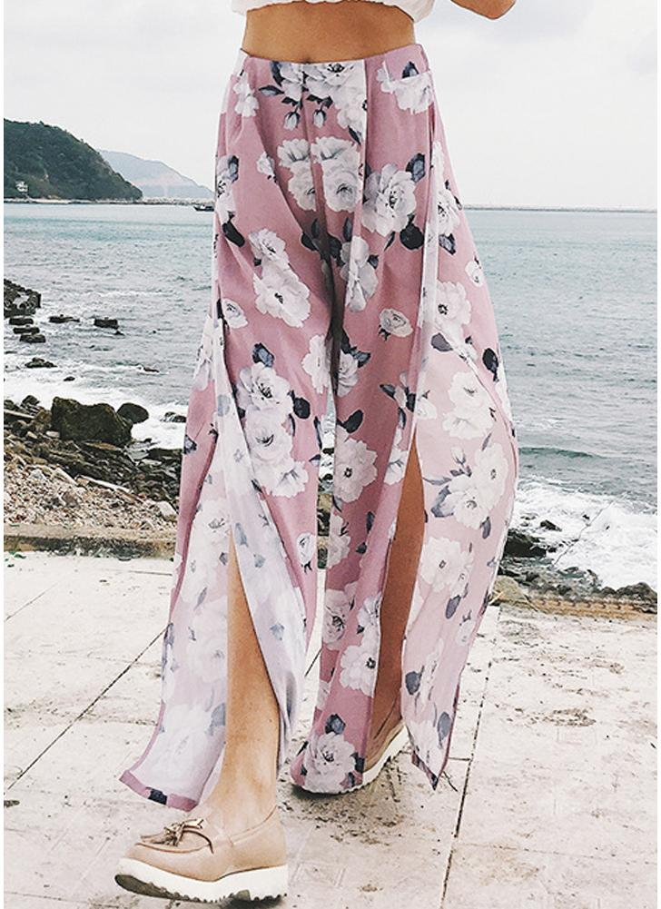 Chiffon Floral Print Wide Leg Pants