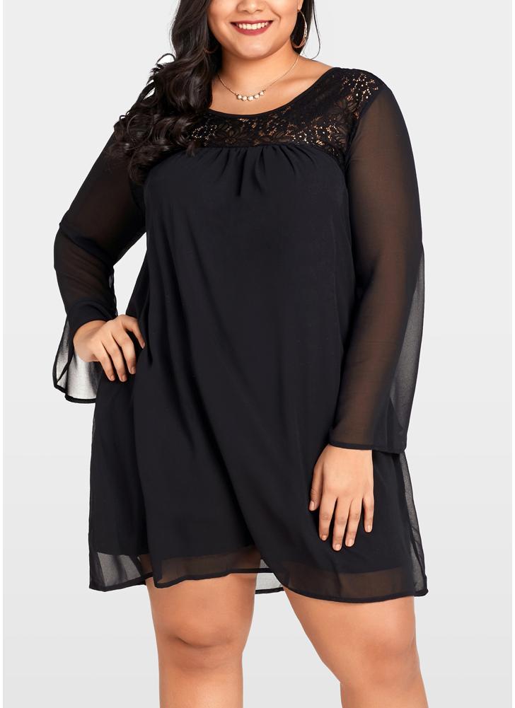 schwarz 2xl Frauen-große Größen-Spitze-Chiffon- Kleid plus Größen ...