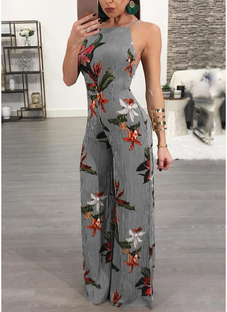 Women Jumpsuit Floral Print Wide Legs Backless Sleeveless Long Romper Body Suits