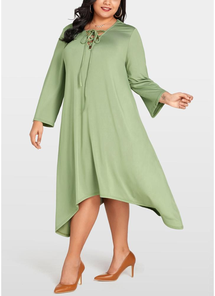 Women Plus Size Lace Up  Long Sleeve Asymmetric Hem Oversized Loose Dress