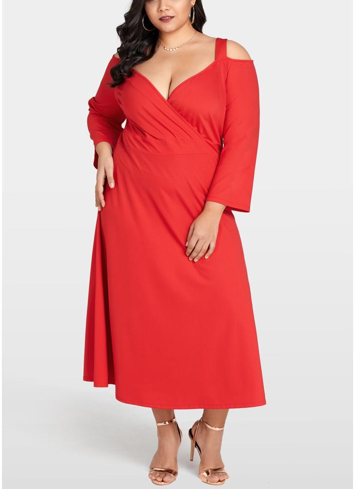 Frauen Plus Size Cold Shoulder Kleid Langarm Cocktail Abend Party Kleid