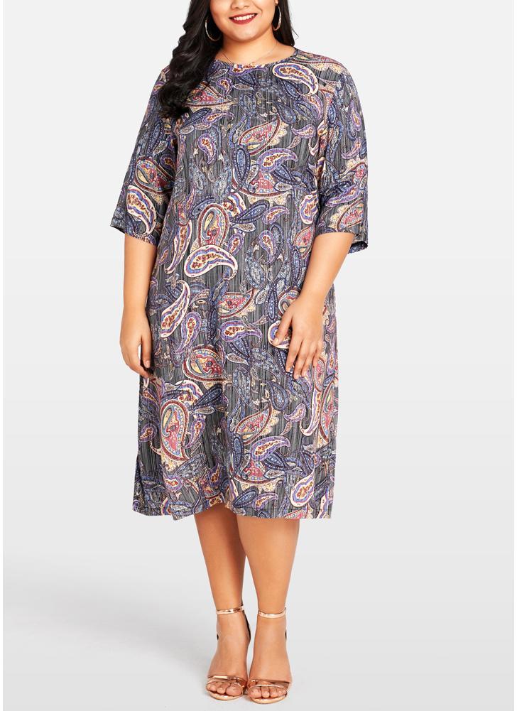 Women Plus Size Dress Paisley Floral Print  3/4 Sleeve Party Oversized Dress