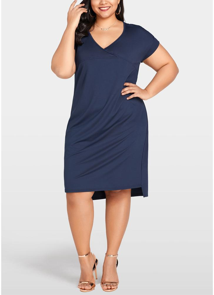 Women Summer Plus Size Dress  Solid Casual Loose Vestidos Dress