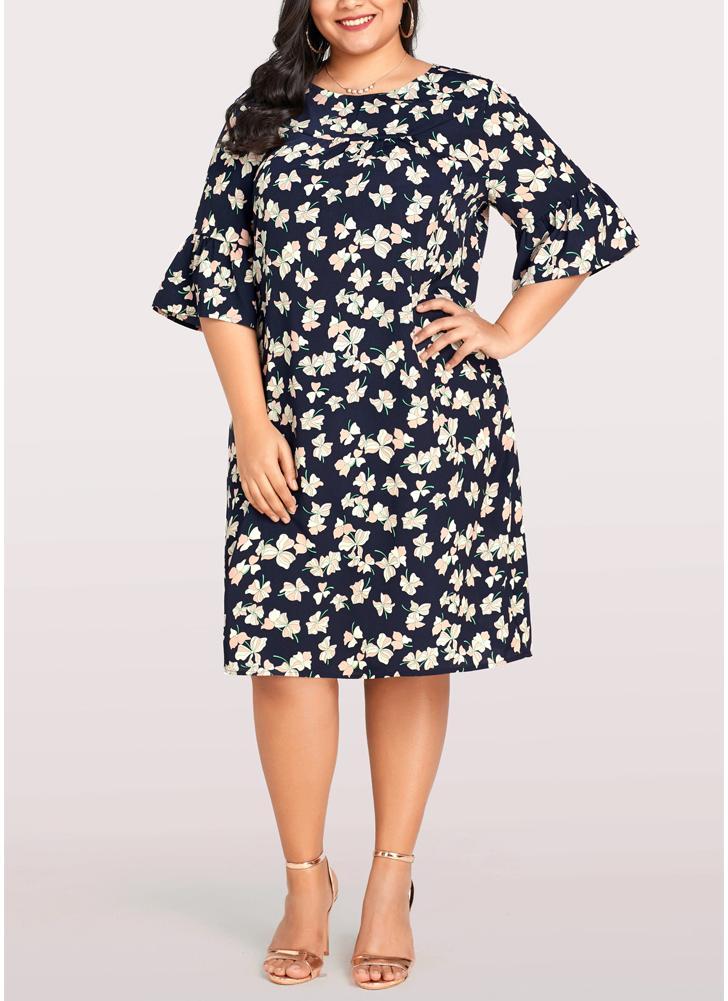 Frauen Plus Size Kleid Blumendruck beiläufige lose große Größe Kleid