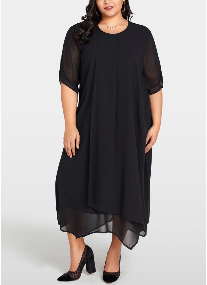 Black 2xl Women Plus Size Chiffon Dress Asymmetric Hem Solid Casual