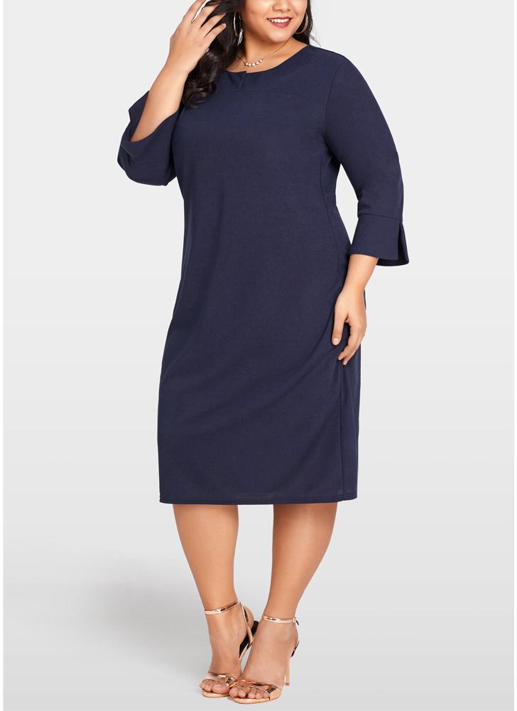 dunkelblau 2xl Frauen Plus Size Kleid 3/4 Ärmel Taschen Solid Casual ...