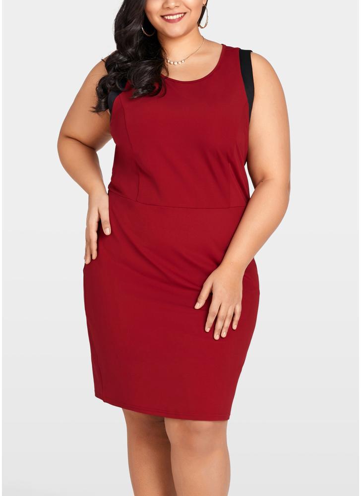 Women Plus Size Sleeveless Dress Color Splice O-Neck  Party Straight Mini Dresses
