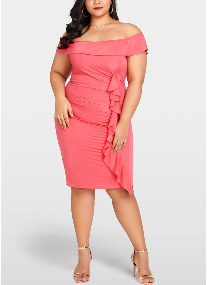 Women Plus Size Bodycon Dress Ruffle Elegant Slim Midi Dress