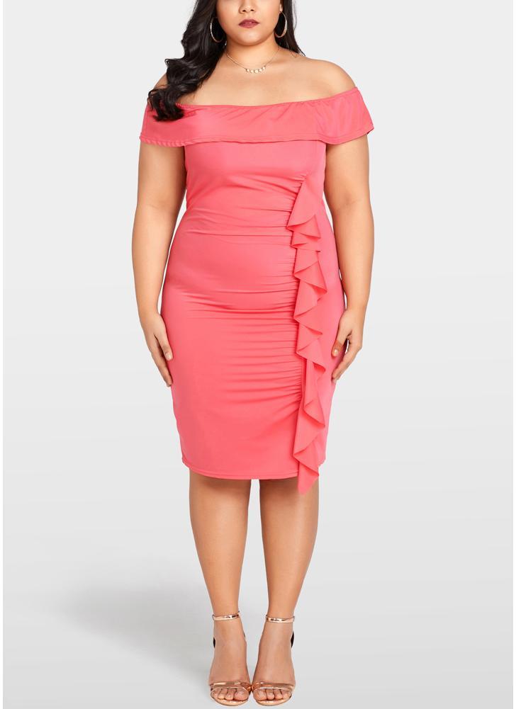 Women Plus Size Bodycon Dress Ruffle Elegant Slim Midi Dress