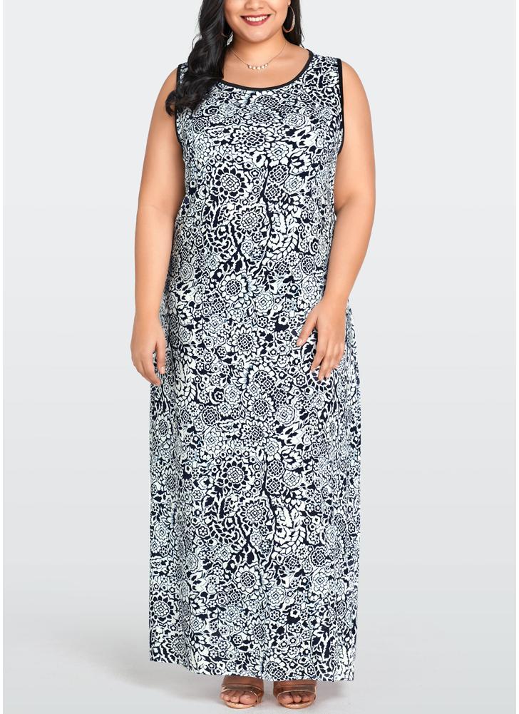 best website 6c1b1 bf20d Vestiti lunghi senza maniche da donna Plus Size Abiti con stampa floreale  O-Collo lunghi