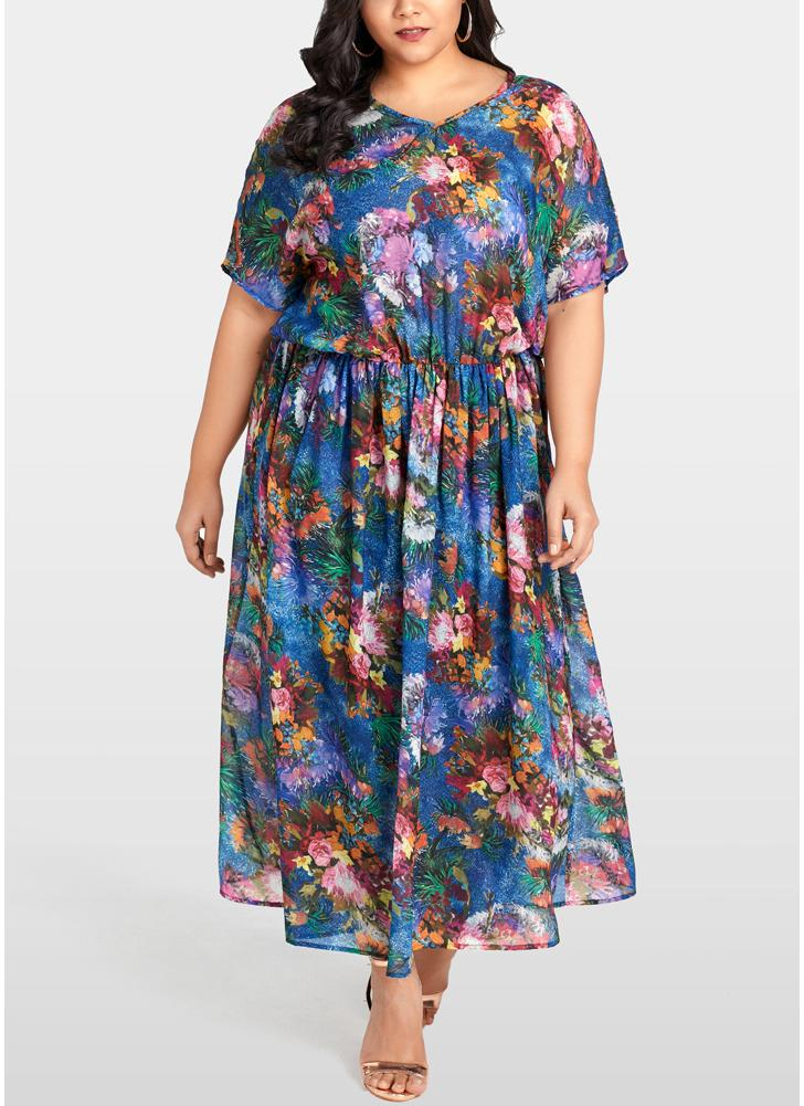 Women Plus Size Chiffon Dress Floral Print Ruffle Elegant Slim Long Loose Dress