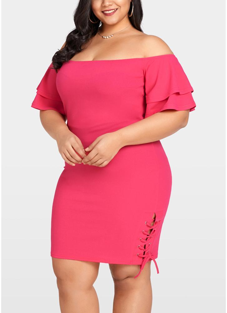 Women Plus Size Dress Off The Shoulder Layer Sleeve Lace Up Elegant Slim Dress