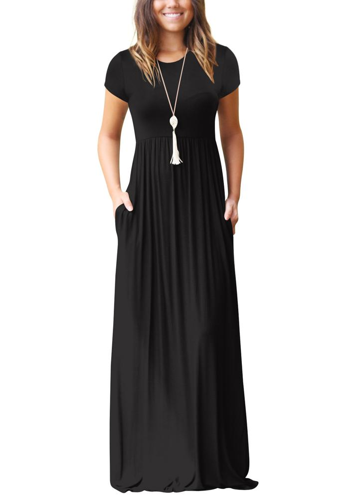 Women Maxi Long Dress Short Sleeves O-Neck Pockets Party Evening A-Line Dresses