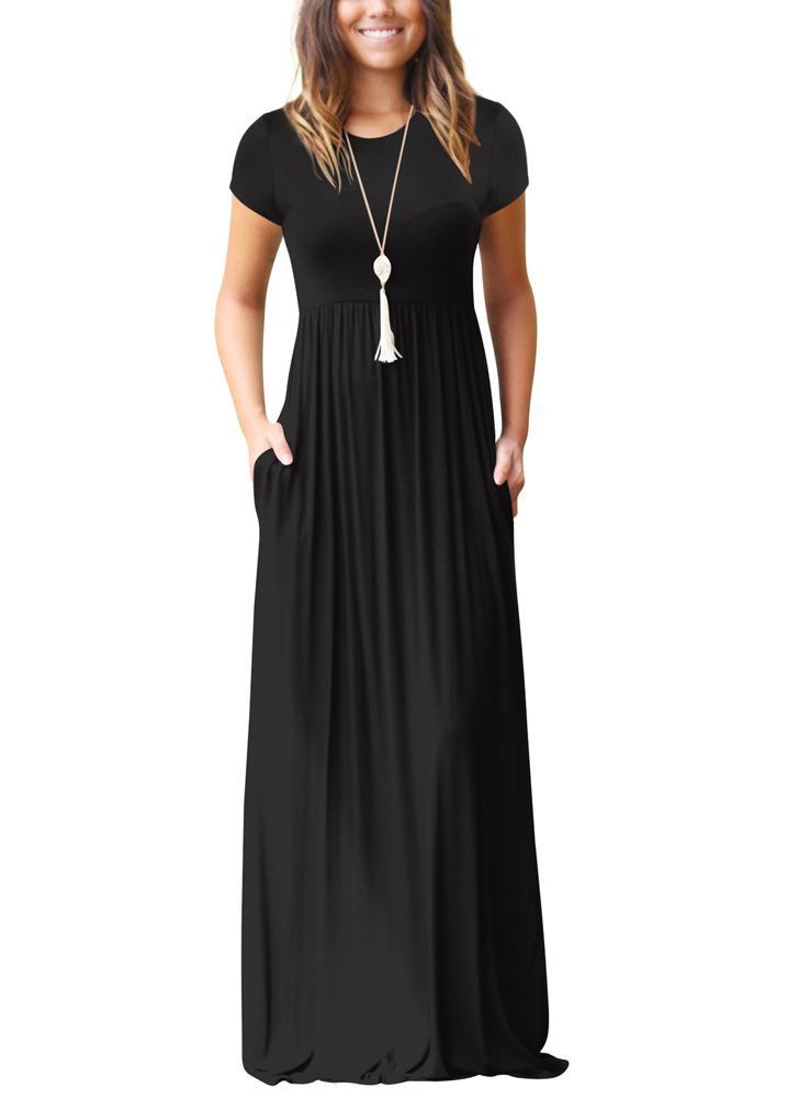 Женщины Maxi Длинные платья Короткие рукава O-Шея Карманы Вечерние вечерние платья