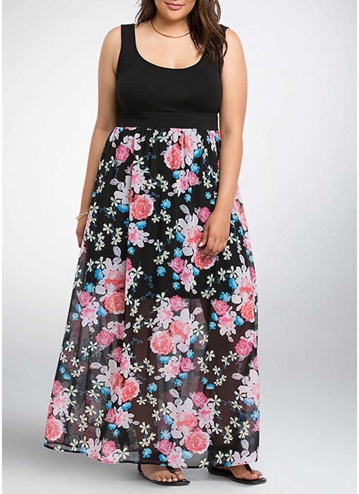dcdb79b30814 Frauen große Größe Maxi Kleid Blumendruck Chiffon Splice ärmelloses langes  Kleid