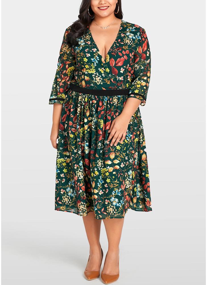 Army Green 2xl Women Plus Size Chiffon Dress Floral Print Midi Dress
