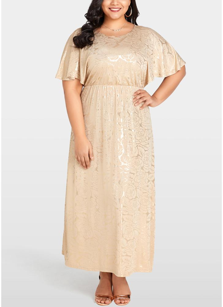 Khaki 2xl Women Plus Size Dress Shining Floral Gold Stamping Evening