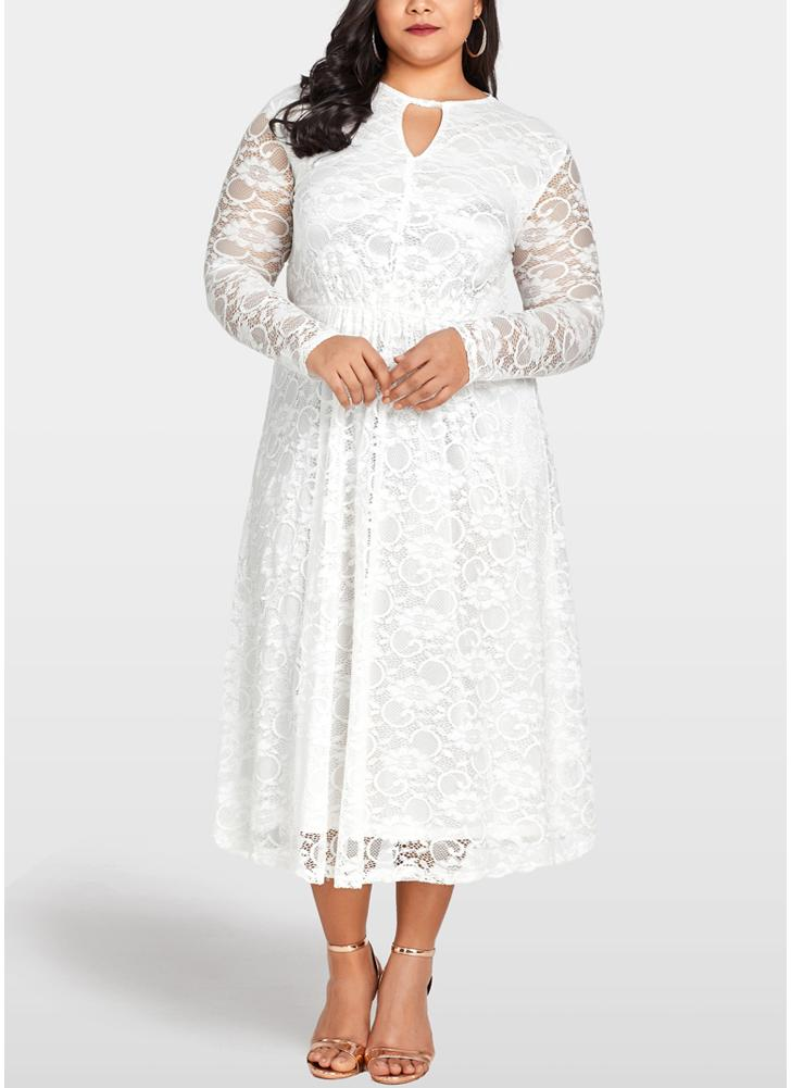white 2xl Women Plus Size Lace Dress Cut Out Front Evening Party ...