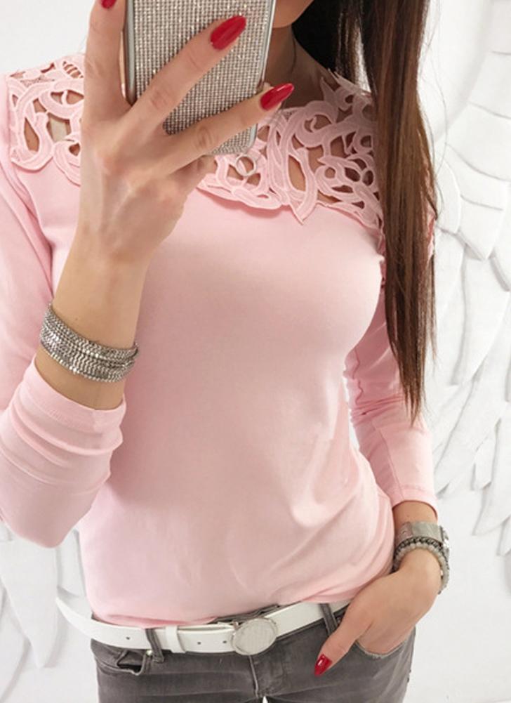 Maglietta da donna Slim T-Shirt in pizzo con maniche lunghe tinta unita 57a7e44d8f9