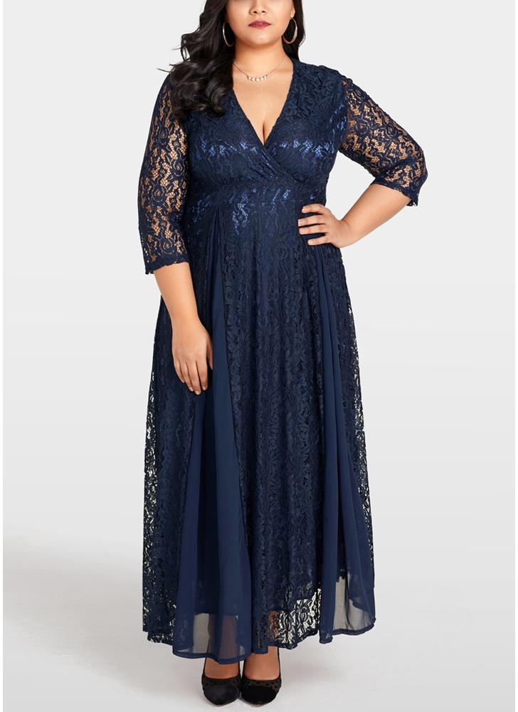Dark Blue 2xl Women Plus Size Dress Solid Lace Chiffon Maxi Gown