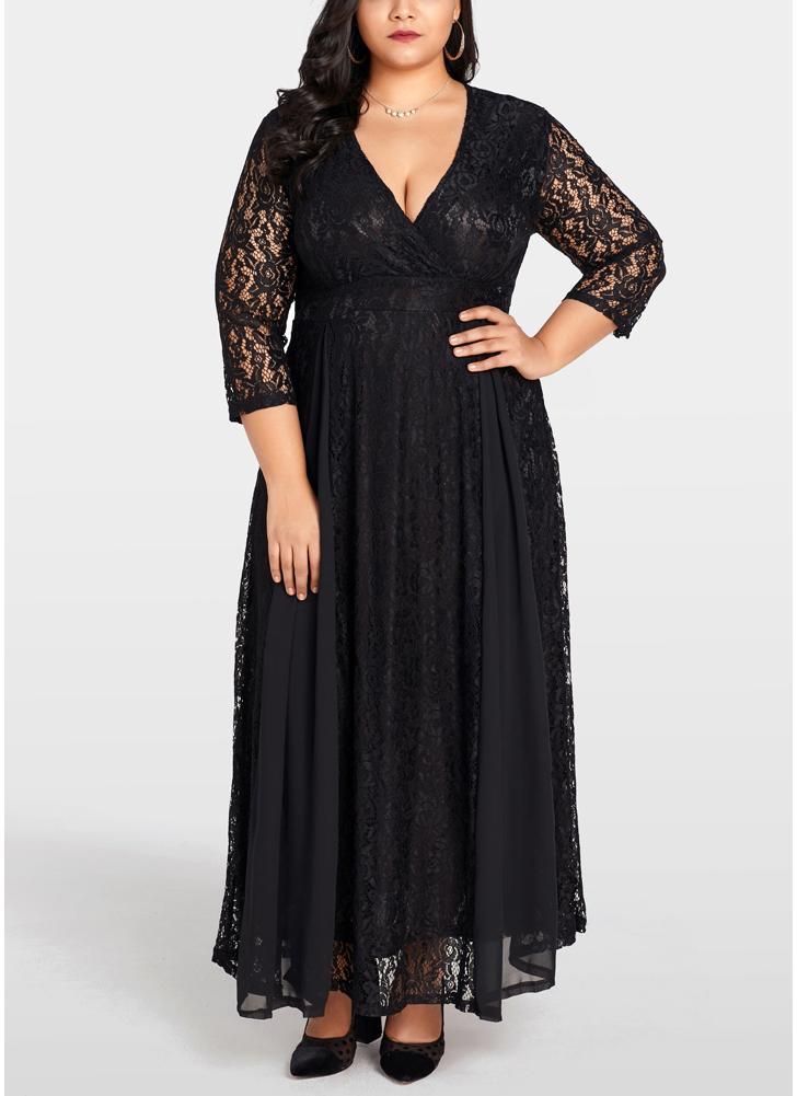 Abito da donna Taglie forti Abito lungo in chiffon di pizzo massiccio  Elegante abbigliamento da festa e8390e5f097