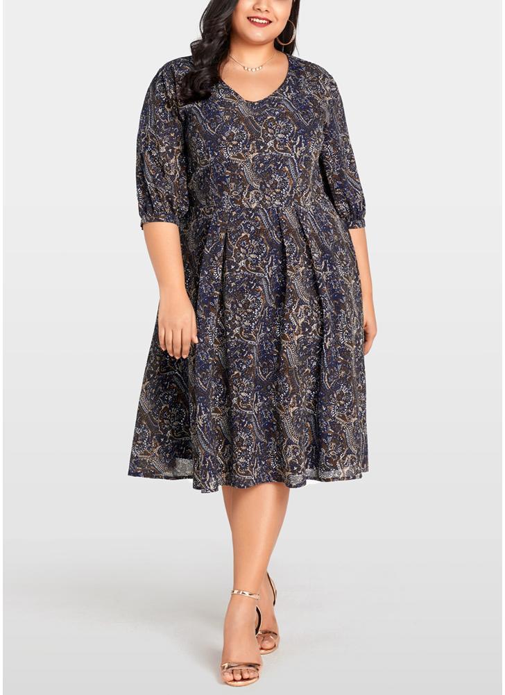 Vestido de mujer tallas grandes Gasa Contraste Paisley Print Midi Vintage de una pieza