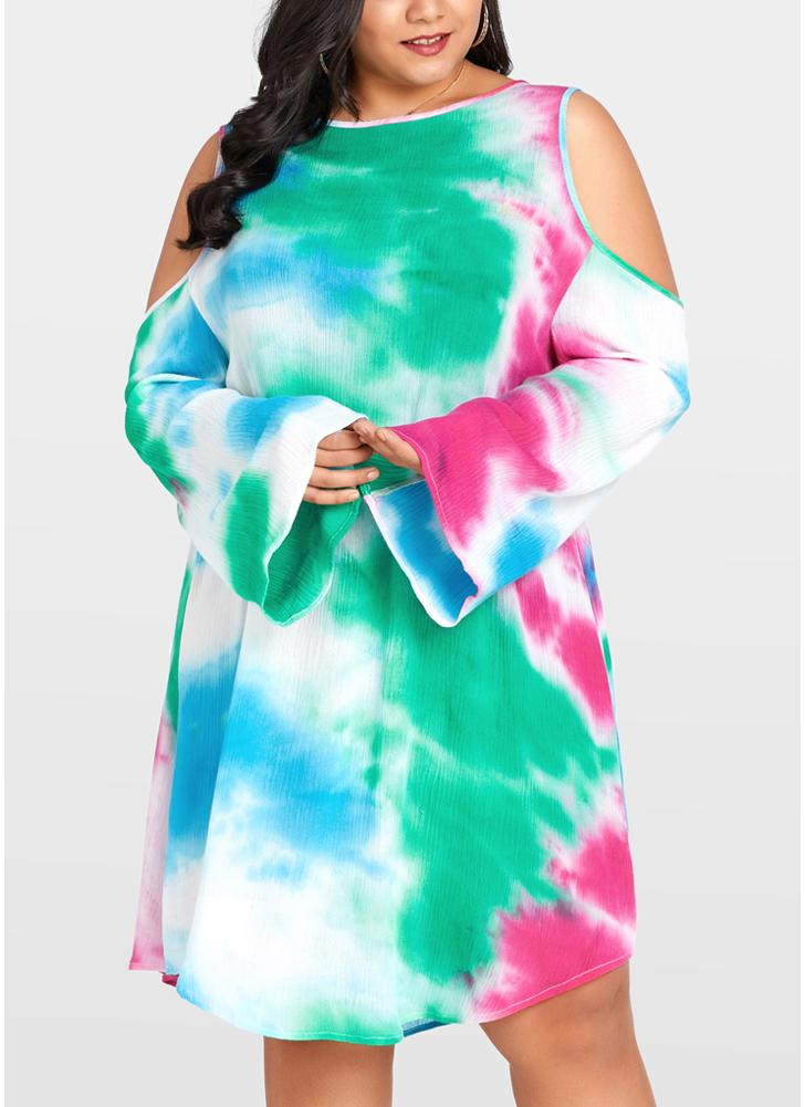 Femmes Plus Size Dress Aquarelle Gradient Imprimer Cold Shoulder Midi One-Piece