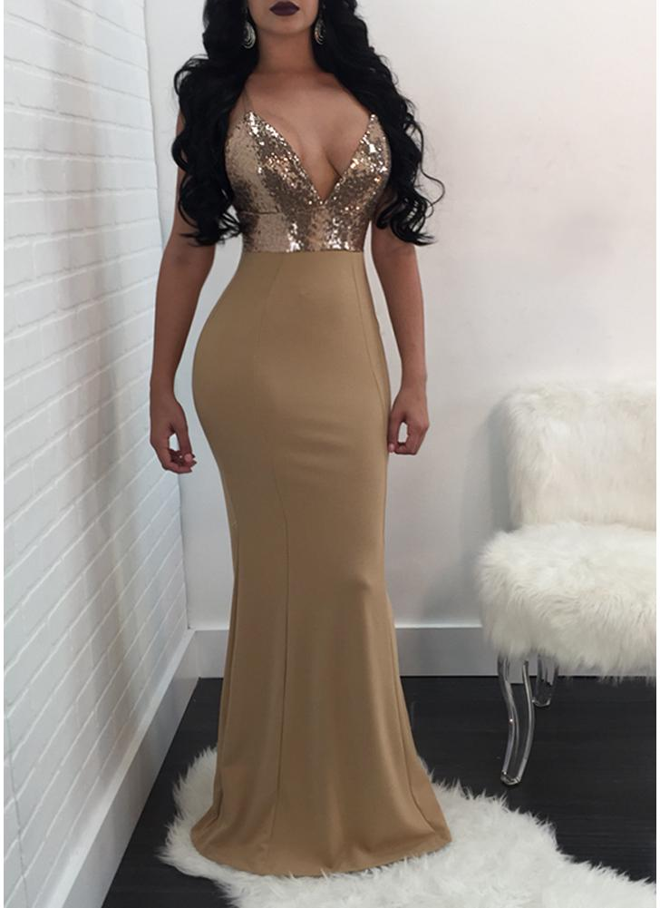 beige l Women Maxi Sequined Bodycon Dress V Neck Backless Long ...