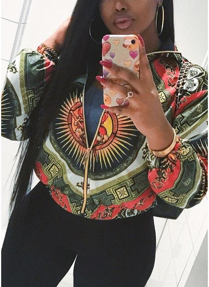 Printed Long Sleeve Zipper Streetwear Coat Bomber Jacket