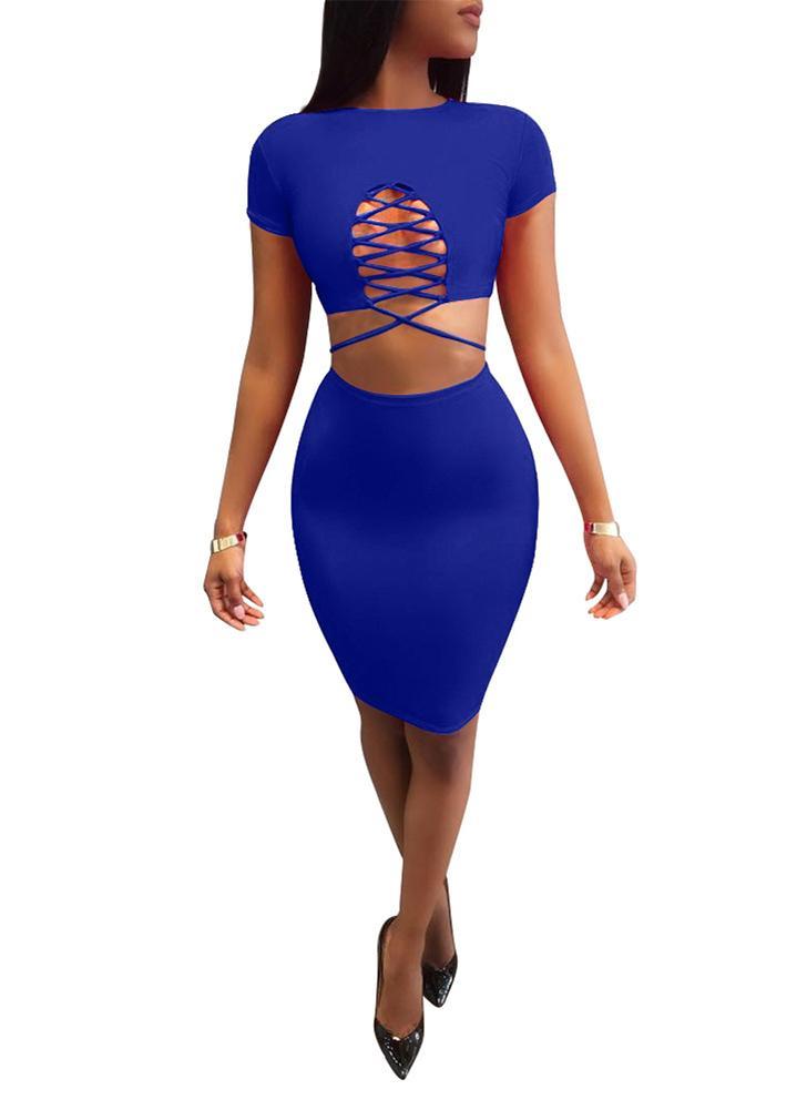 Conjunto mujer piezas de de trajes de Crop Ruching alta Top falda vendaje cintura dos rqxRrA